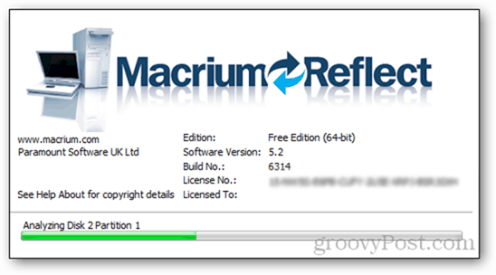 2 - first launch macrium reflect load