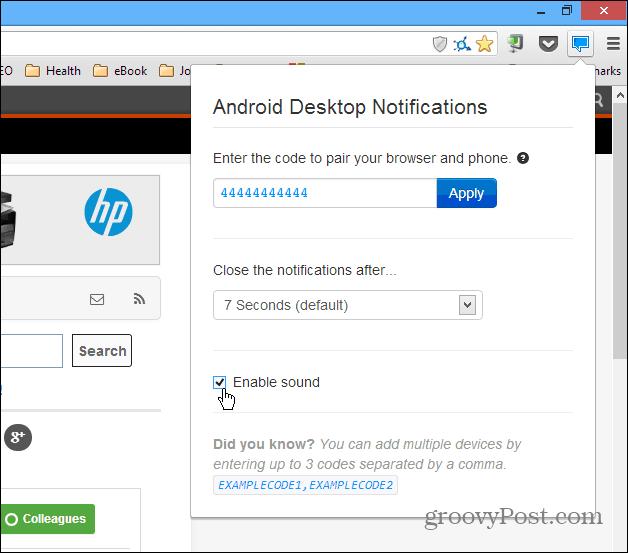 Android Desktop Notification