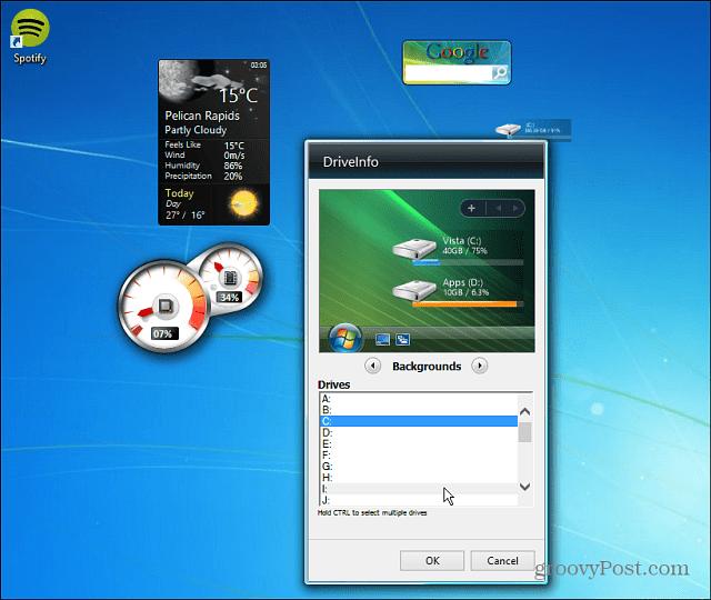Gadgets on Desktop