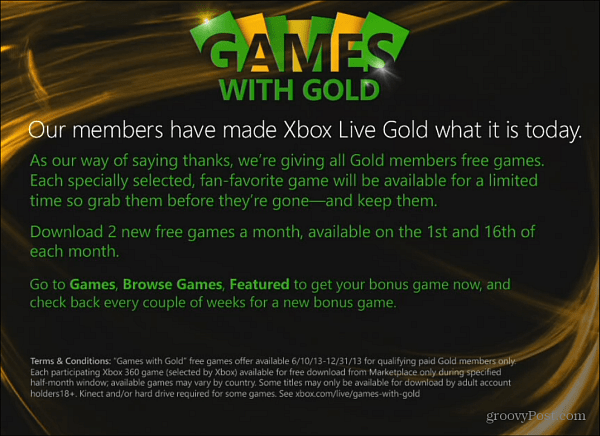 Xbox Live Games with Gold Overview