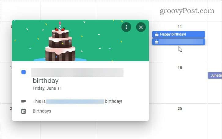 Google Contact Birthdays