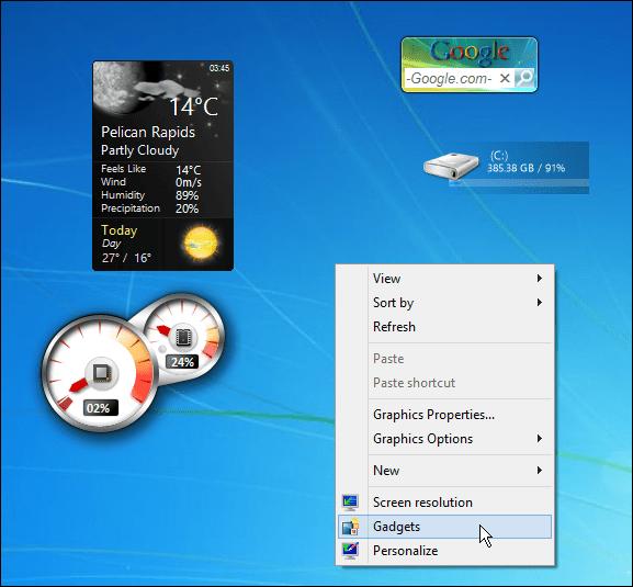 gadgets context menu