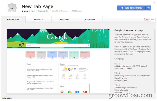 google chrome google now add