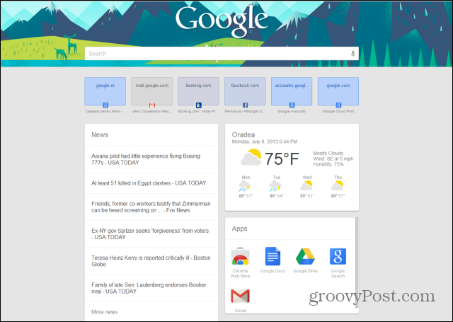 google chrome google now new tab