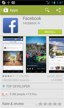 facebook app in google play