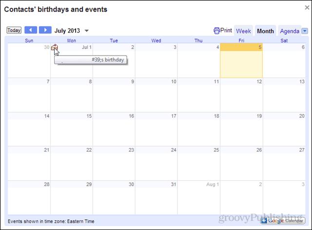 birthdays in google calendar