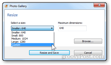 photos resizing tutorial windows live photo gallery size dropdown menu select
