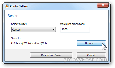 photos resizing tutorial windows live photo gallery browse button directory locate export resized images