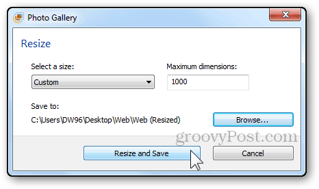 photos resizing tutorial windows live photo gallery resize and save button final step finishing