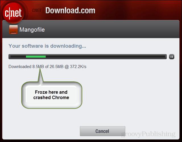 program froze during download