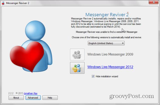 messenger reviver started
