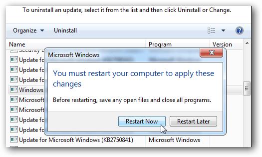 restart required
