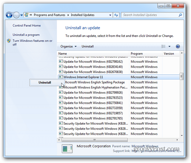 How To Uninstall Internet Explorer 11 Preview from Windows 7