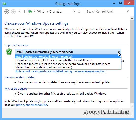 Change Updates Desktop