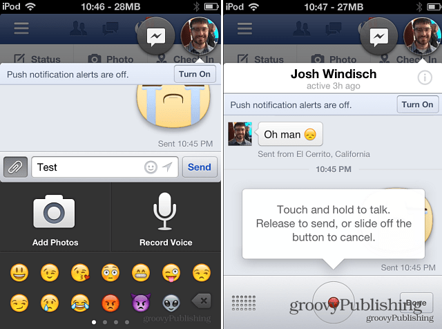 Facebook Voice Message iOS