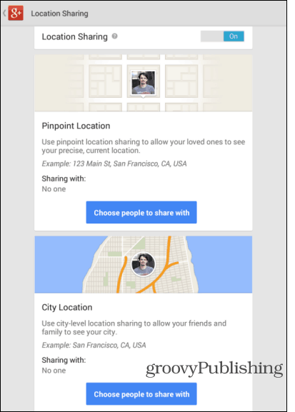 Google Android app update location settings