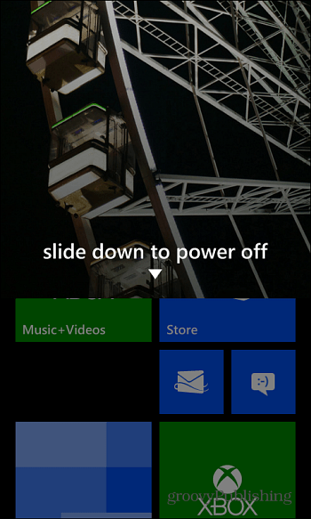 Side down to Power Off Windows Phone 8