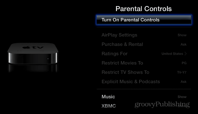 Turn on Parental Controls