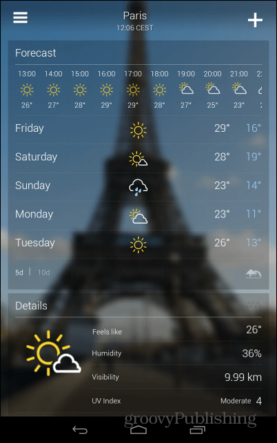 Yahoo! Weather Android app full forecast days