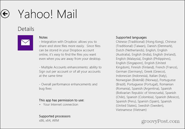 app update info Windows 8.1