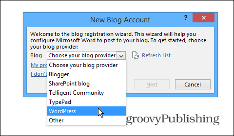 blog setup Wizard