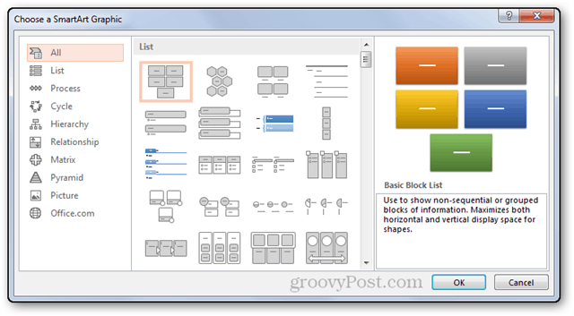 smartart smart art powerpoint power point 2013 windows customize types chose choice multiple