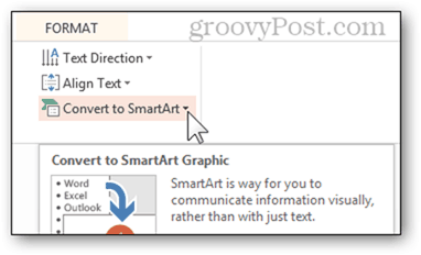 smart art convert to smartart bulleted list bullet powerpoint power point convert 2013 feature button format options
