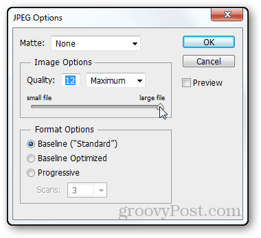 JPEG quality 12 photoshop quality setting compression set facebook timeline psd