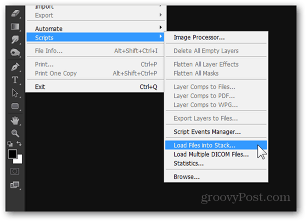 photoshop load files into stack script expand dof photography tutorial