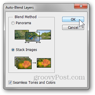 auto blend layers options seamless tones colors photoshop photography tutorial