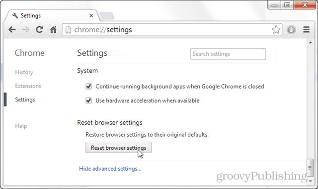 reset browser settings