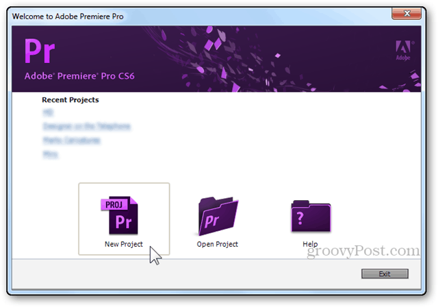 premiere pro new project create welcome screen