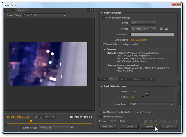 premiere pro cs5 cs6 final video export settings hd 720p h.264
