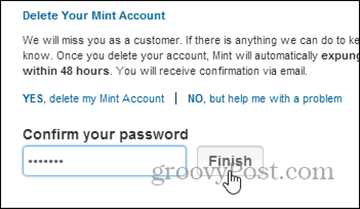 confirm delete with password  - delete mint.com account