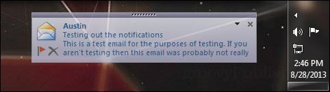 notifcation near system tray