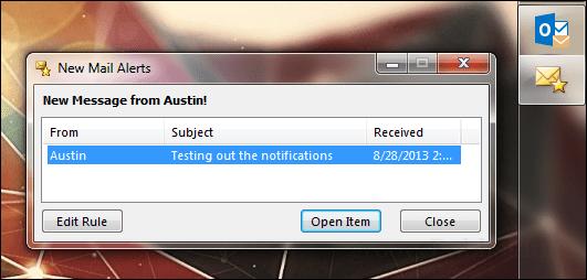new mail alerts window