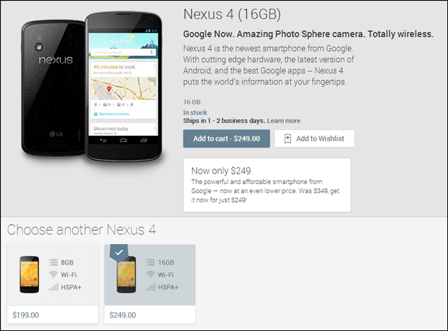 nexus 4 on google play price drop