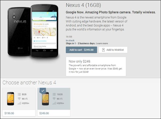 nexus 4 on google play price drop