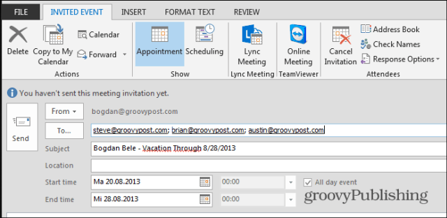 Set an Outlook Meeting to Notify the Team Youre On Vacation
