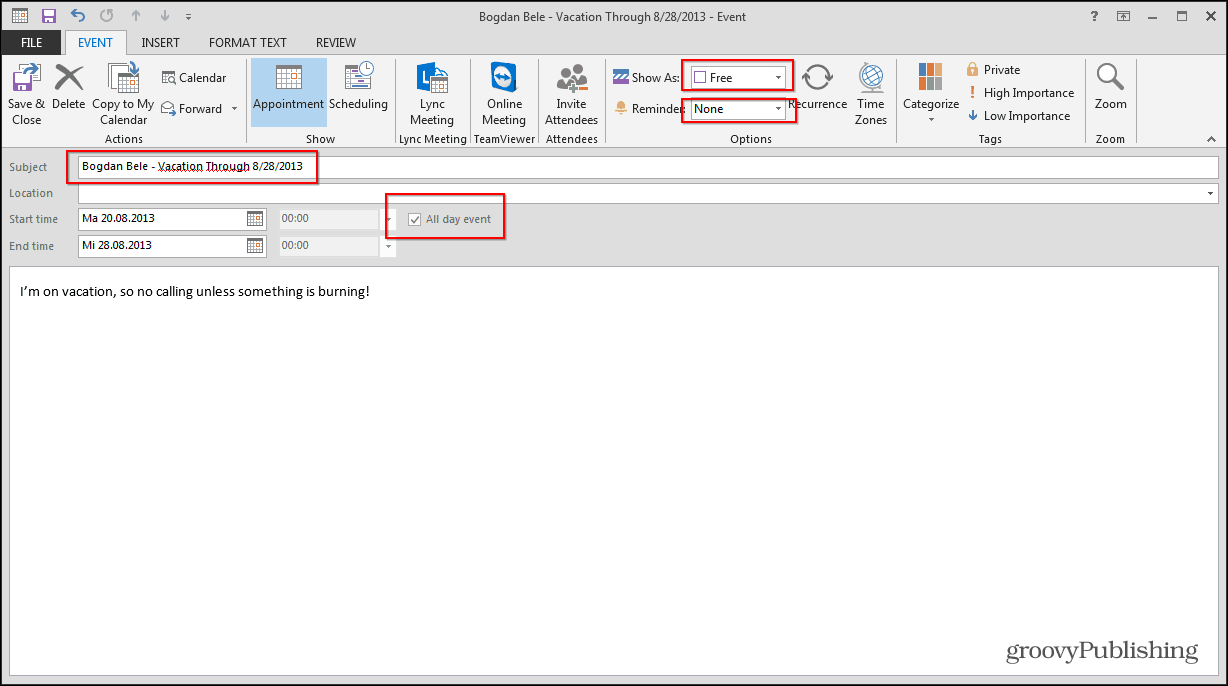 outlook 2013 calendar select vacation appointment settings
