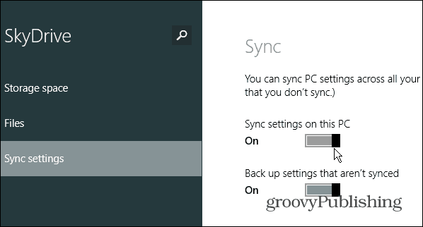 sync settings this PC