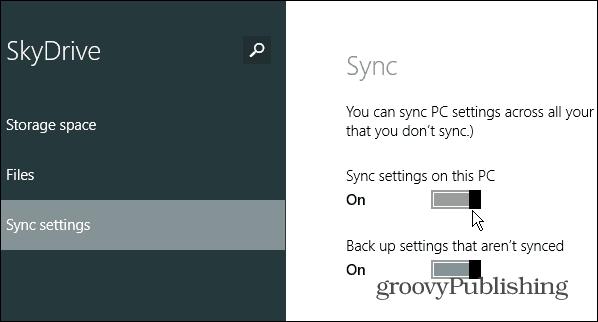 sync settings this PC