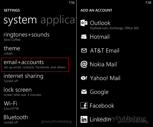 Add Account Windows Phone 8