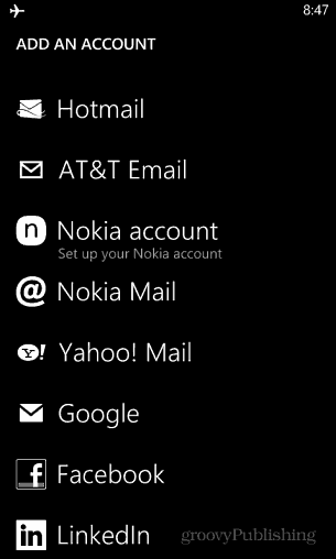 Add Accounts WP8