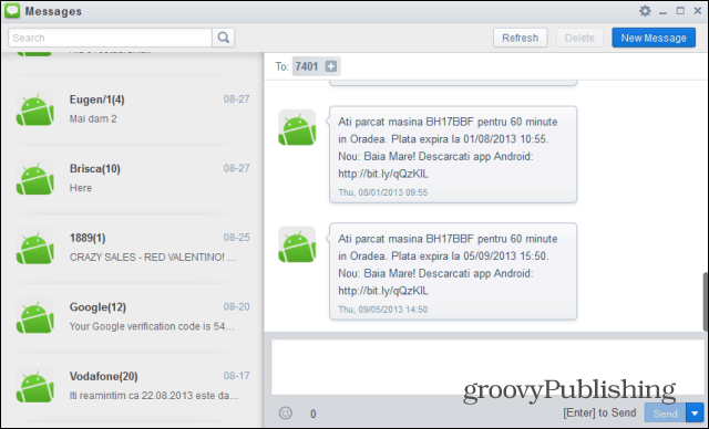 AirDroid messages