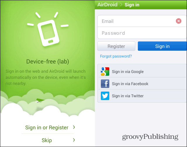 AirDroid sign in