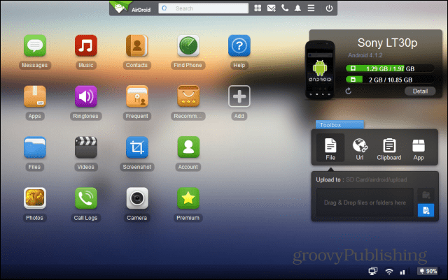 Airdroid interface