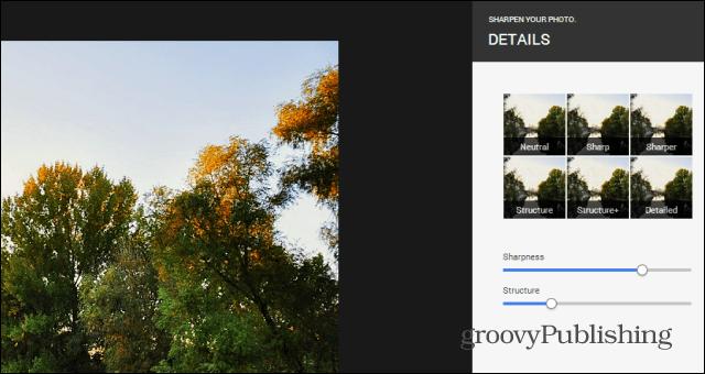 Google  photo editing sharpen