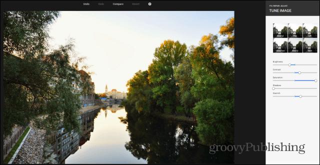 Google photo editing tools Tune Image