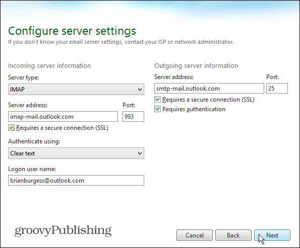 IMAP Windows Live Mail